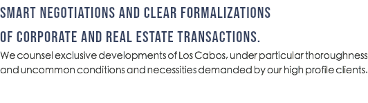 SMART NEGOTIATIONS AND CLEAR FORMALIZATIONS OF CORPORATE AND REAL ESTATE TRANSACTIONS. We counsel exclusive developments of Los Cabos, under particular thoroughness and uncommon conditions and necessities demanded by our high profile clients.